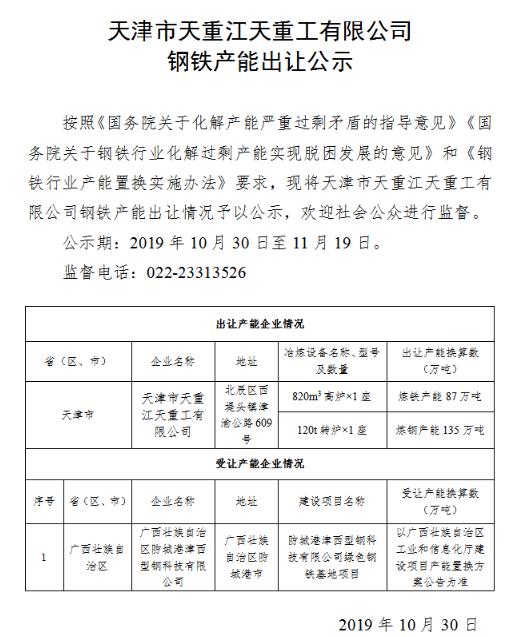 天津市天重江天重工有限公司钢铁产能出让公告